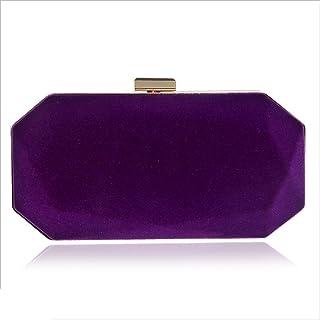DIEBELLAU Ladies Suede Evening Bag Women's Bag Evening Banquet Clutch Bag (Color : Purple, Size : XS)