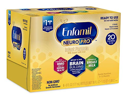 Enfamil NeuroPro Ready to Feed Baby Formula Milk Nursette, 2 fluid ounce (6 count) - MFGM, Omega 3 DHA, Probiotics, Iron & Immune Support