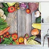 Ambesonne Lebensmittel-Duschvorhang, Verschiedene Gemüse auf einem Holztisch Karotte Mais Gurke Kohl Landwirtschaftsthema Stoff Stoff Badezimmer Dekor Set mit Haken 84