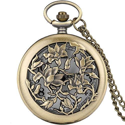 Relojes De Bolsillo para Mujer Bronce Flores Huecas Floral Rattan Reloj De Bolsillo Collar De Cuarzo Analógico Colgante Suéter Cadena Hombres Mujeres 80 Cm Cadena