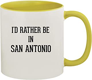 I'd Rather Be In SAN ANTONIO - 11oz Ceramic Colored Inside & Handle Coffee Mug, Yellow
