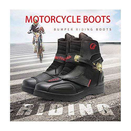 FACAI Botas De Motociclismo Todoterreno Resistentes Al Desgaste para Mujer Botas De Motociclista Zapatos De Motocicleta Antideslizantes para Hombres Zapatos De Montar,Black-45