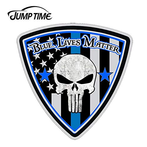 OLUYNG Sticker de Carro 13 cm x 13 cm Vidas Azules importan Punisher Calavera Pegatina Coche camión Taza policía portátil BLM calcomanía de Cuerpo EnteroCT-01313