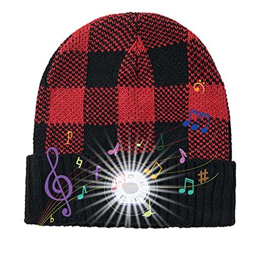WBTY Gorro inalámbrico con Bluetooth, auriculares estéreo binaurales con luz musical, linterna USB, gorro de punto cálido para invierno, para correr, esquí, senderismo, ciclismo