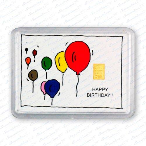 Goldbarren 1g 1 Gramm Motivbox Geschenk Platinbarren Silberbarren Weihnachten Gold Platin Silber Barren + 1x Echtheitszertifikat von Securina24® (Happy Birthday Lufballons - Goldbarren)