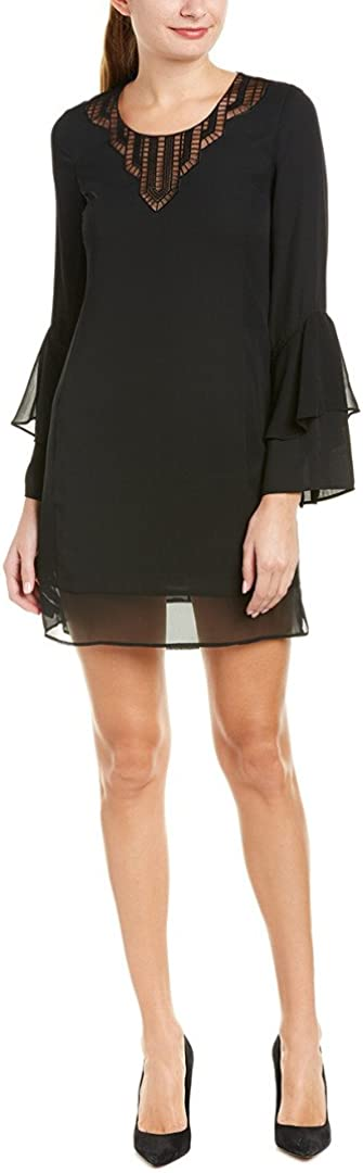 LAUNDRY BY SHELLI SEGAL Women's Mixed Media Dress with Novelty Neck Detail