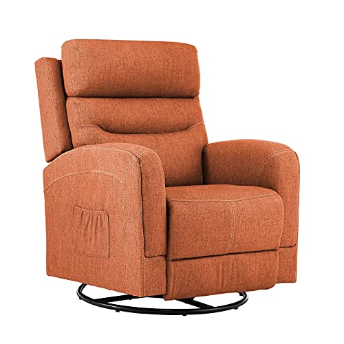 eclife Massage Electric Power Lift Recliner Chair with Lumbar Heating, Ergonomic Lounge Chair, Reclining Sofa for Living Room, Side Pocket, USB Ports & Remote Control (Swivel+Rocking, Orange+Fabric)