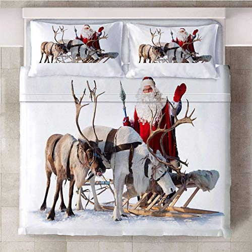Duvet Cover Single Set 3D Santa Claus and animal deer Printed 3 Pieces Bedding Set with 2 Pillowcases with Zipper Closure Soft Microfiber Anti-allergic Quilt Cover for Kids Adults 53 x 79 inch