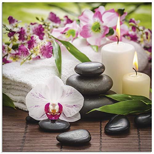 Artland Glasbilder Wandbild Glas Bild einteilig 30x30 cm Quadratisch Wellness Zen Steine Spa Orchideen Bambus Relax Pink Rosa K3AD