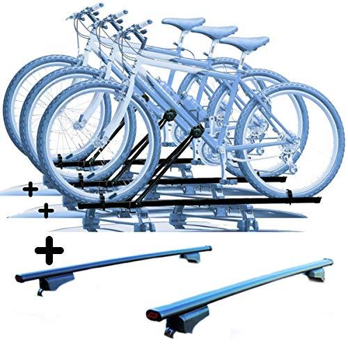 PROPOSTEONLINE Tre Portabici da Tetto Realizzato per Opel Zafira Tourer (2012 in Poi) 3X Porta Biciclette universali in Acciaio + Barre
