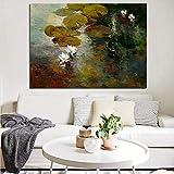 wZUN Impresión HD Lienzo Arte de la Pared impresión Lotus Pond Paisaje Pintura al óleo Cartel Imagen de la Pared 60x90 Sin Marco