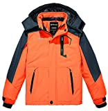 Wantdo Boy Waterproof Skiing Jacket Hooded Snowboard Jacket Insulated Puffer Coat Orange 14/16