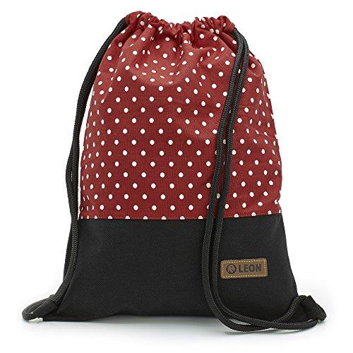 By Bers LEON Turnbeutel mit Innentaschen in Schwarz-Weiß Rucksack Tasche Damen Herren & Teenager Gym Bag Draw String (weiß-rot Punkt)