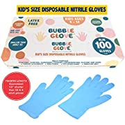 Bubble Glove: Best Kids Nitrile Gloves (Latex Free, Powder Free, odorless, Food Safe) - Prevent Skin Allergy or Irritation for Multipurpose Use (50)