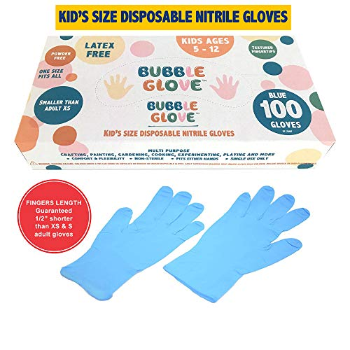 Bubble Glove: Best Kids Nitrile Gloves (Latex Free, Powder Free, odorless, Food Safe) - Prevent Skin Allergy or Irritation for Multipurpose Use (100)