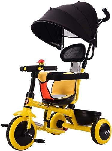 Hejok Enfants Trikes Filles, Vélo Tricycle Enfant 1-3 Ans Tricycle Pliant 4 en 1 pour Enfants avec Poignée Amovible 3 Roues Jaune