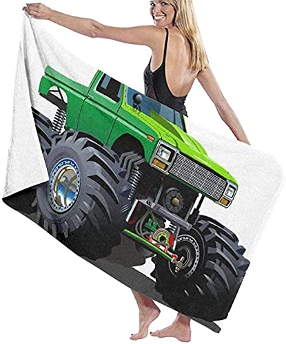 Toalla de Playa,Camión Monstruo de Dibujos Animados,Toalla de baño,Toalla de Playa,Toalla de Microfibra,Toalla de Viaje,Toalla de Deporte,para Nadar y bañarse 80 x 130 cm