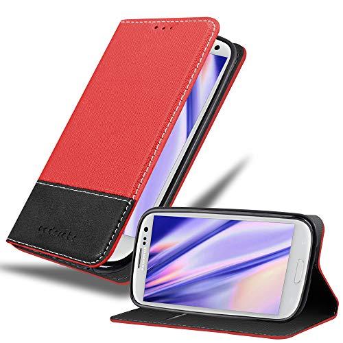 Cadorabo Funda Libro para Samsung Galaxy S3 / S3 Neo en Rojo Negro - Cubierta Proteccíon con Cierre Magnético, Tarjetero y Función de Suporte - Etui Case Cover Carcasa
