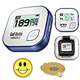 GolfBuddy Voice 2 Golf GPS/Rangefinder Bundle with Ball Marker and Magnetic Hat Clip (USA Flag)