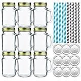 Tebery 9 Pack Glass Mason Drinking Jars 16oz Drinking Mugs with Handle and Straws