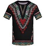 YWLINK Hombre Estilo Nacional Moda Impresa Africana Camiseta Manga Corta Camisa...
