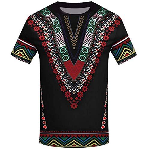 YWLINK Hombre Estilo Nacional Moda Impresa Africana Camiseta Manga Corta Camisa Informal Top Blusa Deportes Al Aire Libre Fiesta Actividad Rendimiento(Negro,L)