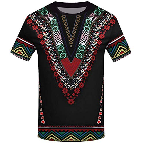 Skxinn Herren Mode African Printed T Shirt Kurzarm Freizeithemd Top Bluse Sommer Traditionelle Afrikanische T-Shirt Tops Oberteil Beiläufige Kleidung Männer Hemd Hippie Vintage Blusen