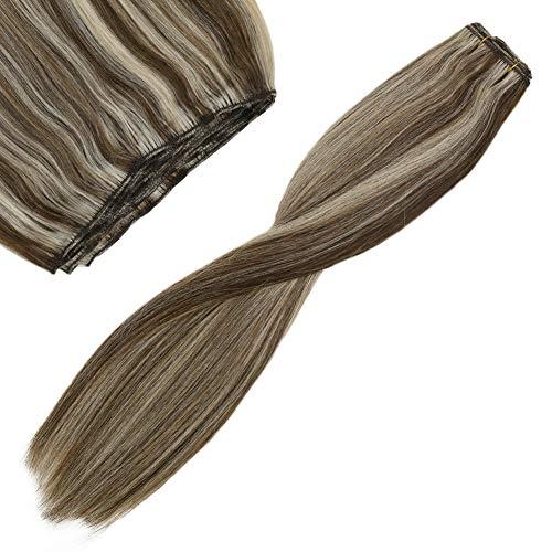 YoungSee 100% Echthaar Tressen Weaving Extensions Blond Gesträhnt Mittel Braun mit Blond Strahnchen Haareverlangerungen Echte Haare Remy Tressen 16zoll 100g