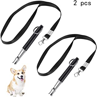 PIVBY Dog Whistle to Stop Barking,Adjustable Training Dogs Silencer Pitch Ultrasonic Bark Control for Dogs - Pack of 2 PCS Whistles with 2 Free Lanyard Strap