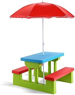 Costzon Kids Picnic Table Set Children Junior Rainbow Bench w/Umbrella (Red & Green)