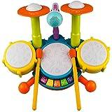 Kinder Trommel Set, Rabing Musikinstrumentenspielzeug mit 2 Trommelstöcken, Beats Flash Light und verstellbarem Mikrofon für Jungen und...