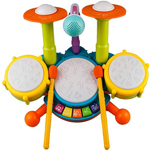Kinder Trommel Set, Rabing Musikinstrumentenspielzeug mit 2 Trommelstöcken, Beats Flash Light und verstellbarem Mikrofon für Jungen und Mädchen im Alter von 1-12 Jahren