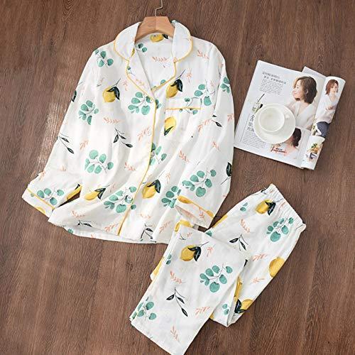 QYV Conjunto de Pijamas de algodn 100% Estilo Simple Floral Pantalones de Manga Larga Ropa de Dormir Traje de Pijamas para Damas Pijamas Largos Ropa de hogar para Mujeres | Conj,Banana Leaf,L