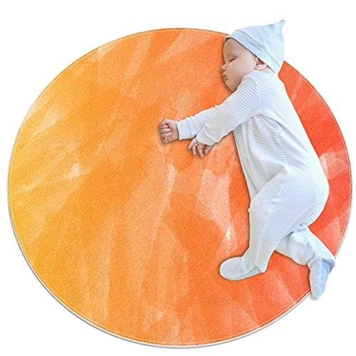 Alfombra redonda antideslizante para niños, diseño circular, lavable a máquina, degradado naranja