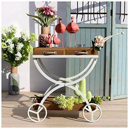 MTYLX Soporte de Flores, Bandeja Vintage Estante de Flores de Hierro Estante de Exhibición de Alenamiento de Jardín Japonés Carro Flotante