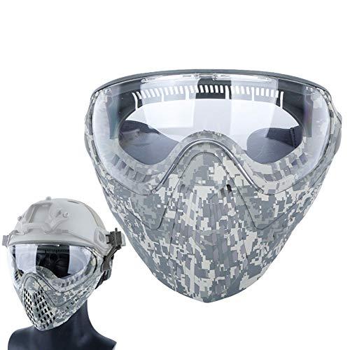 WTZWY Tactical Airsoft Vollgesichtsmaske und Schutzbrille, Militärgesichtsschutz, für Sport-Paintball-Jagd Army Combat Shooting,ACU