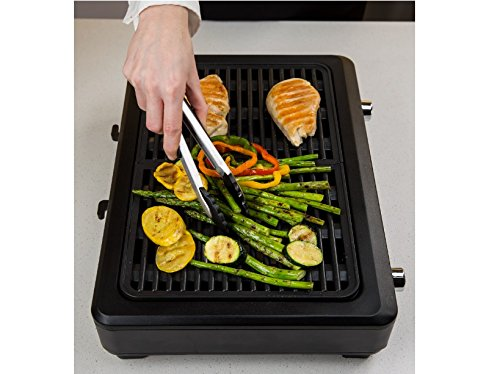 KRUPS PG760851 Electric Indoor Adjustable Temperature Smokeless Grill w/Non-Stick Cooking Surface and Dishwasher Safe Removable Drip Tray, Black