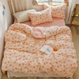 BlueBlue Peach Duvet Cover Set Twin 100% Cotton Bedding for Kids Boys Girls Teens Cartoon Apple Fruit Print on Pink 1 Reversible Check Comforter Cover with Zipper Ties 2 Pillowcases (Twin, Peach)
