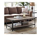Walker Edison Rustic Farmhouse Rectangle Wood and Metal Frame Coffee Accent Table Living Room 2 Tier Storage Shelf, 46 inch, Driftwood