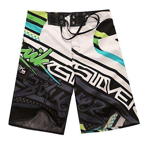 ZiXing Pantaloncini da Spiaggia da Uomo Boardshorts Swim Trunks Shorts in Vita Elasticizzati Pantaloncini da Surf Pantaloni Estivi Verde 34