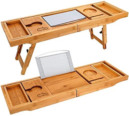 Bandeja de baño extensible de madera de bambú – y organizador de baño para cualquier tamaño de bañera soporte para copa de vino integrado, soporte para teléfono, libro, libreta, tableta.