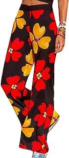 chenshiba-JP 女性Palazzoガウチョパンツボホ印刷ワイド脚ラウンジパンツ