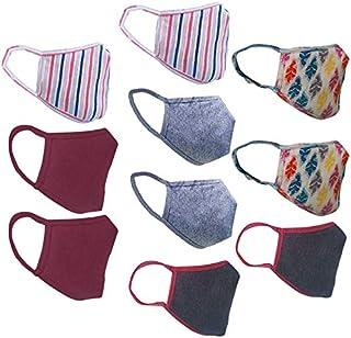 Cotton Cloth pack of 10 Face Mask Washable Reusable Face Masks Soft Earloop/Mouth Nose Cover face masks Men Women Kids Uni...