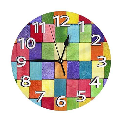 GOSMAO Reloj de Pared,Ladrillos de Bloque de Contorno de Color Arco Iris, Reloj de Escritorio Decoración del hogar para Cocina Sala de Estar Dormitorio Oficina