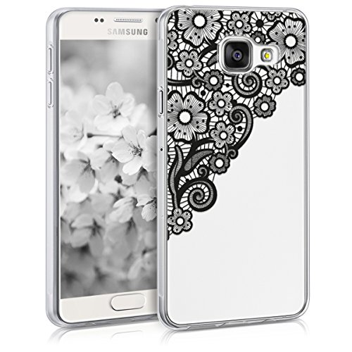 kwmobile Carcasa Compatible con Samsung Galaxy A3 (2016) - Funda Silicona TPU Trama Floral Negro/Transparente