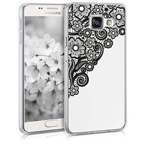 kwmobile Funda Compatible con Samsung Galaxy A3 (2016) - Carcasa de TPU y Trama Floral en Negro/Transparente ⭐