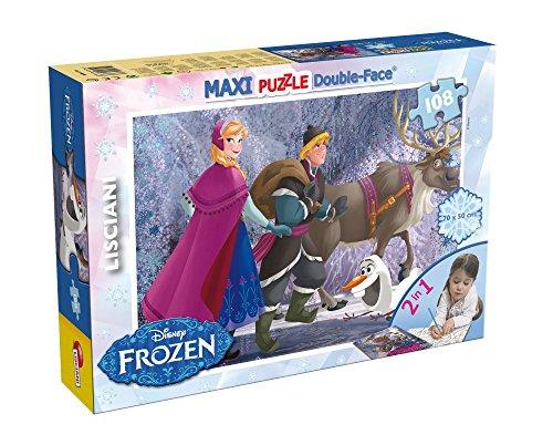Lisciani Puzzle Maxi Floor para niños de 108 piezas 2 en 1, Doble Cara con reverso para colorear - Disney Frozen La reina de las nieves 46898