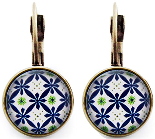 Ohrhänger Hängend Ohrstecker Damen Blau Geometrisch Boho Ohrschmuck Cabochon Rund 12mm Frauen Modeschmuck Mutter Schwester Bronze