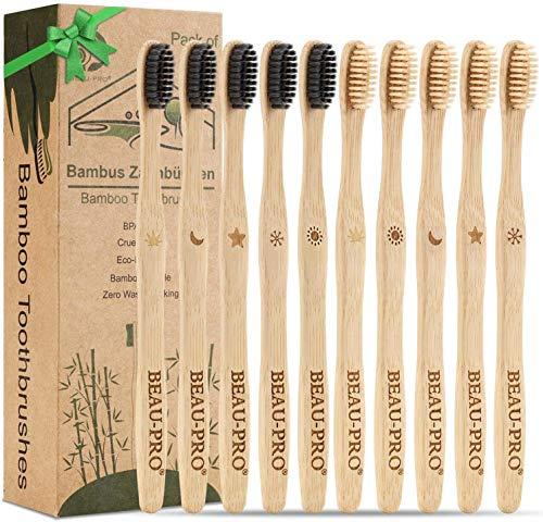 Spazzolini Bamboo,10 Pezzi Bamboo Toothbrushes,Set di Spazzolini da Denti Bambù con Setole di Carbon,100% Naturali, Biodegradabili ed Ecologico Riciclabile, Senza BPA,Carbone Spazzolino di bambù