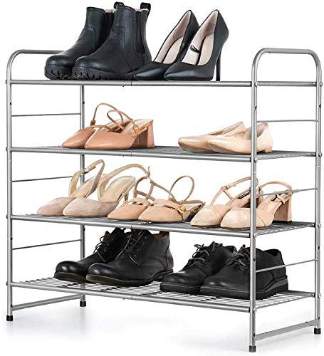 qeryuyh Zapatero apilable de 4 Niveles Organizador de Estante de Almacenamiento de Zapatos con Rejilla de Alambre Ajustable se Adapta a Botas Tacones Altos Pantuflas Capacidad Extra Grande aho